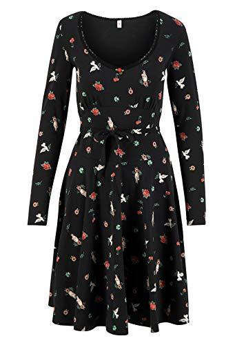 Blutsgeschwister Damen Kleid ode to The Woods Dress Midi- Kleid Single-Jersey Schwarz XS