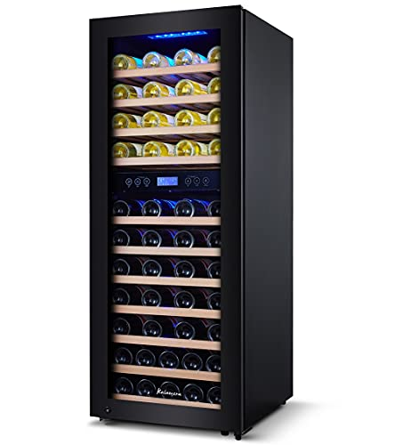 Kalamera Weinkühlschrank 2 Zonen für 73 Flaschen,200 Liter,Freistehend,Temperaturzonen 5-10°C/10-18°C,KRC-200BFG