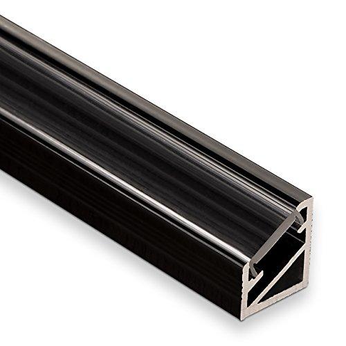 3 Stück LED Profil-66 Eckprofil schwarz mit klarer Abdeckung 2000 x 14,5 x 16,5 mm von SO-TECH®