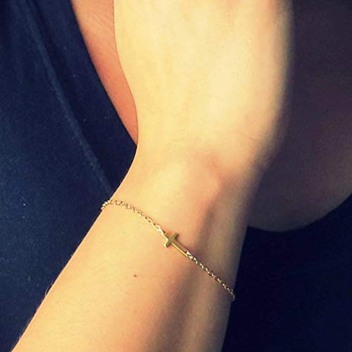 KUANGLANG Charm Cross Minimalist Gold Silver Color Small Love Friendship Charm Bracelets Bangles Jewelry Link Chain Bracelets Women