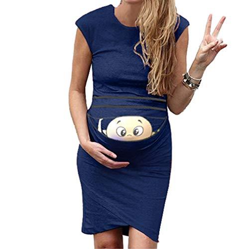 qiansu Schwangere Bodycon Knielang Kleid - Witzig Spähen Baby Reißverschluss Gedruckt Umstandskleid Cute Schwangerschaft Cocktailkleid Abendkleid Maternity Partykleid