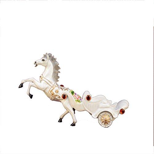 KMYX Continental White Resin Horse Car Wine Rack Creatividad Decoración del gabinete del Vino Wine Holder Bar Vino Estante Sala de Estar Artesanía Decoración del Regalo de inauguración