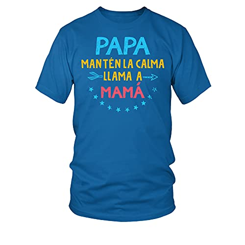 TEEZILY Camiseta Hombre Papa Manten LA Calma - Azul eléctrico - M