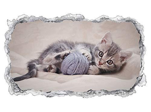 3D Wandtattoo Baby Katze Tier Kätzchen klein Ball spielend Tapete Wand Aufkleber Wanddurchbruch sticker selbstklebend Wandbild Wandsticker Wohnzimmer 11P1075, Wandbild Größe F:ca. 97cmx57cm