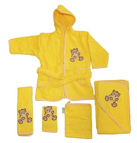 Fuchs seit 1895 Baby Handtuch Set mit Bademantel Bären Motiv 5-tlg. 100% Baumwolle in versch. Farben, Farbe:gelb