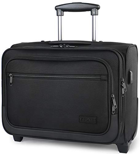 Rolling Laptop Bag, 17 Inch Rolling Briefcase for Men Women, Water Resistant Roller Bag with Wheels and USB Charging Port for Business Travel Work, Black