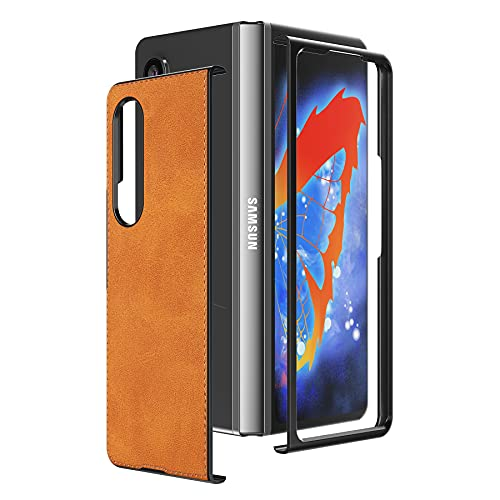 Cresee Hülle für Samsung Galaxy Z Fold 3 5G, PU-Leder Handyhülle Hülle Schutzhülle Cover kompatibel mit Galaxy Z Fold3 2021, Hellbraun
