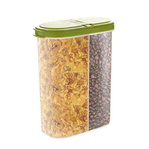 COMFECTO Set of 2 Airtight Cereal Container Dry Food Dispenser Storage Keeper 12-18 oz Capacity for Snacks Sugar Flour Nut with Hovering Flip Top Lid and Large Mouth for Easy Pouring – Green