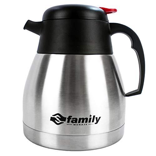 family Termo Café, Cafetera de Acero Inoxidable Doble Pared, Antigoteo, Mantiene Frío y Calor para Café, Zumo,Leche,Té,Bebidas (1L)