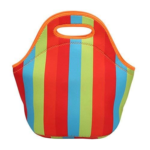 Homeself Neoprene lunch bag, isolante per il pranzo per unisex adulti bambini Toddler infermieri Stripes
