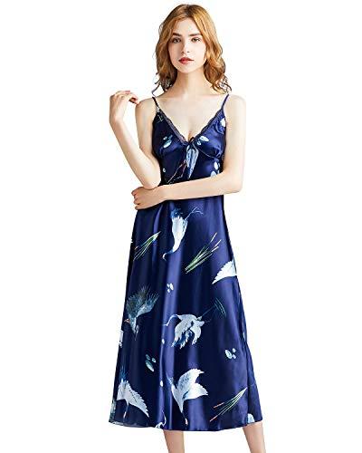 Camisola Miureal feminina de cetim para dormir de seda, renda, sem mangas, lingerie dividida, Navy Blue 1, X-Large