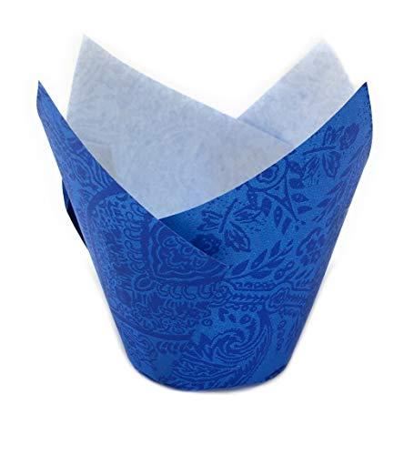 120 Muffin Tulip Wrap, Muffin Förmchen, Cupcake Papierbackform in Tulpenform Gemustert (Blau)