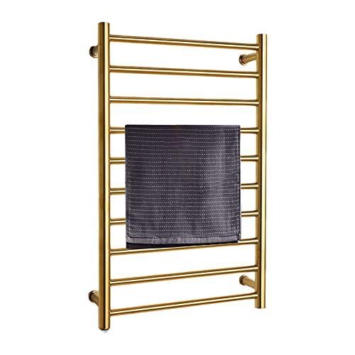 Towel Warmer and Drying Rack, Towel Warmer Heated Towel Rack, 10-Bars Wall Mounted Electric Towel Warmer, Hard-Wired and Plug-in Optional,Gold,2