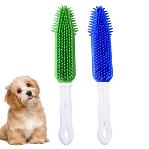 POPETPOP Dog Brush for Shedding- 2pcs Silicone Dog Brush Comb Pet Brush Hair Removal Comb Dog Hair Cleaner Massaging Grooming Shedding