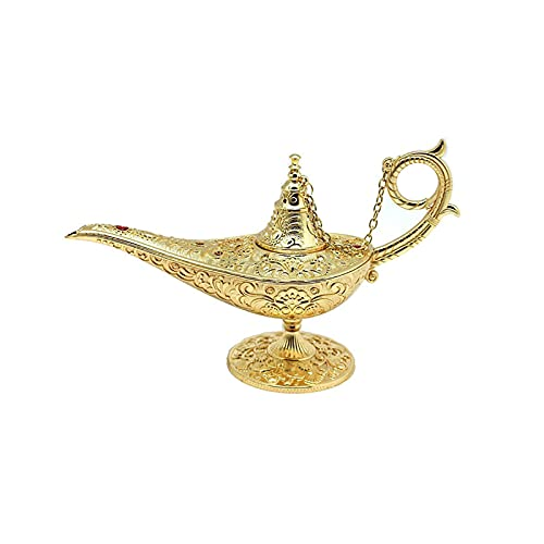 CREACEC Aladdin Wish Lamp, Vintage Metal Tallado Aladdin Wish Light Arabic Disfraz Props Lámpara para Inicio Regalo de Decoración de Boda para Party Halloween Cumpleaños,Oro