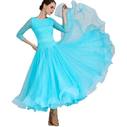 Nationaler Standard Ballsaal Tanzkleider für Frauen Wettbewerb Tanzbekleidung Spitzen-Ärmel Modern Walzer Tango Tanzen Performance Kostüm Große Schaukel, Blue, XXL