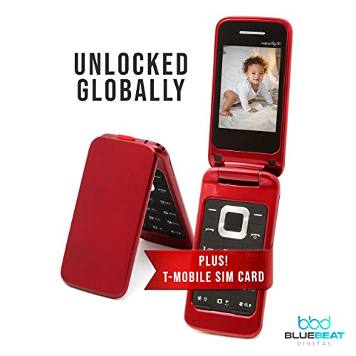 Unlocked 3G GSM Flip Phone - NEO FLIP JR. - Celular Desbloqueado - Dual SIM - Plus 1 Year of Unlimited Talk & Text & 5 GB of Data Monthly Blue Beat Digital Mobile SIM (T-Mobile) (Red)
