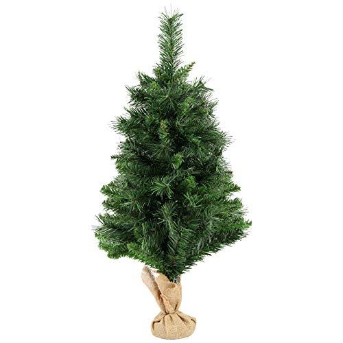 SALCAR Weihnachtsbaum künstlich 60cm mit 70 Spitzen, Tannenbaum künstlich Schnellaufbau inkl. Christbaum-Ständer, Weihnachtsdeko - grün 0,6m