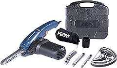 FERM Precision Belt Grinder 400W - Variabele snelheid - Incl. 3 slijparmen en 12 slijpriemen in een robuuste opbergkruk*