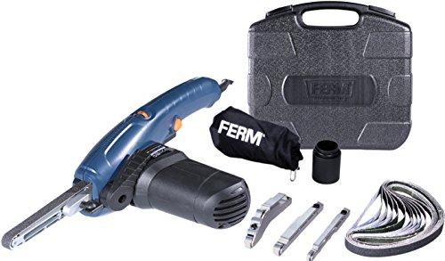 FERM Präzisionsbandschleifer 400W - Variable Geschwindigkeit - Inkl. 3 Schleifarmen und 12 Schleifbänder in einem robuster Aufbewahrungskoffe