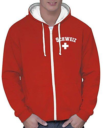Coole-Fun-T-Shirts Schweiz Sweatshirtjacke Varsity Jacke rot-Weiss, Gr.XL