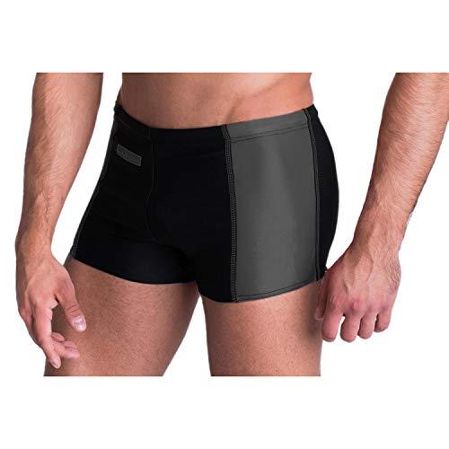 Aquarti Herren Badehose mit Reißverschlusstasche Badeshorts, Farbe: Schwarz/Grau, Größe: 7XL