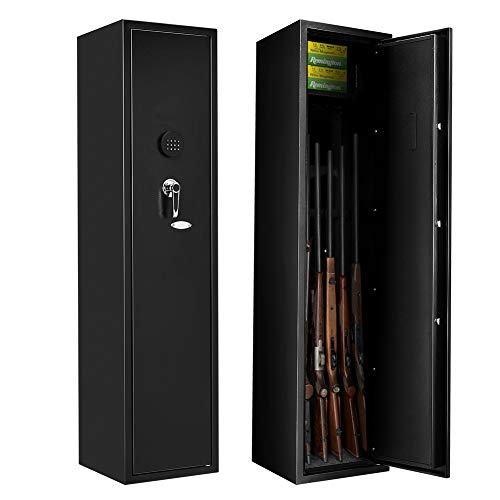 4 Gun Rifle Safe Cabinet Large Rifle Gun Safe Quick Access, Electronic Shotgun Safe, Long Gun Safe with Digital Keypad, Removable Shelf for Pistol/Bullet (Metal Steel)