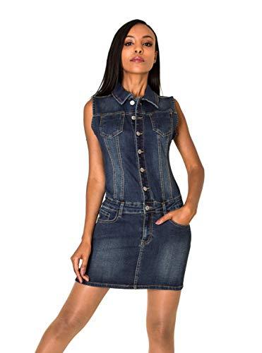 Nina Carter S388 Damen Jeanskleid Kurzes Denim-Kleid Slim Fit Jumpsuit-Kleid (Dunkelblau (Dark Blue S388), M)