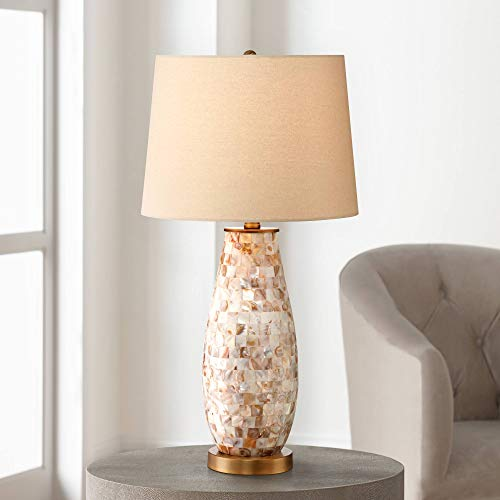 Kylie Cottage Style Table Lamp Mother of Pearl Tile Vase Glass Brass Metal Beige Drum Shade Decor for Living Room Bedroom House Bedside Nightstand Home Office Reading Family - Regency Hill