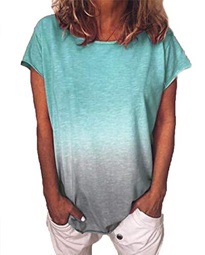 Yutila Damen Kurzarm T-Shirt Beiläufig Farbverlauf Shirt Sommer Lose Shirt Tees, Türkis, 2XL(EU 44)