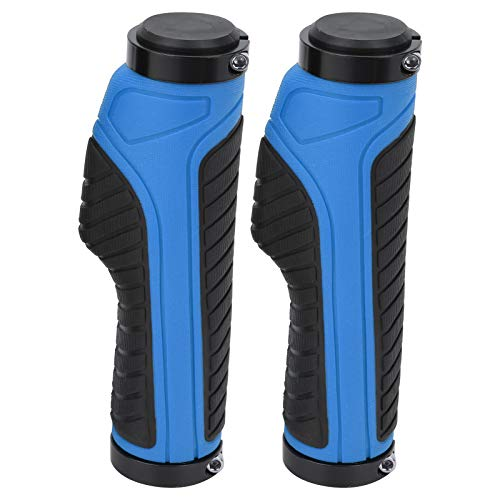 Bnineteenteam Handlebar Grips, Double-locked Mountain Bike Soft Handlebar Grips Bicycle Double Lock Anti‑Slip Rubber Handle Grips(blue)
