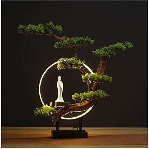 U/K Bonsai Artificial Interior Bonsai Bonsai Tree con la luz LED Plantas Falsas Falsas Artificial Zen Bonsai Árbol para la Oficina en casa Decoración Interior, Zimmbonsai Bonsai (Color : A)