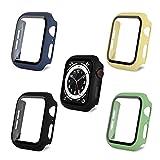 AOTUAO Funda Compatible con Apple Watch Serie 6 SE 5 4 44mm, Estuche Rígido Delgado PC Protector de Pantalla Cristal Templado para iWatch, 4Piezas Negro Midnight Blue Amarillo Verde