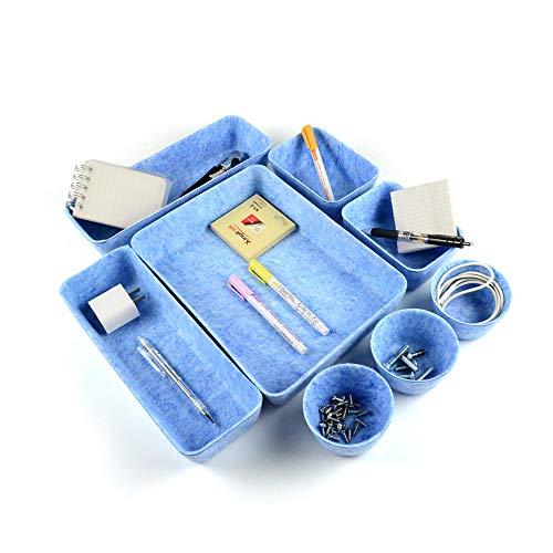 Sistema de organización de fieltro, sistema de organización para cajones de maquillaje, cesta de almacenamiento plegable de fieltro, cajones organizadores de escritorio