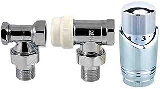 Las válvulas termostáticas de radiador cromados ajustables en ángulo Pack 1/2