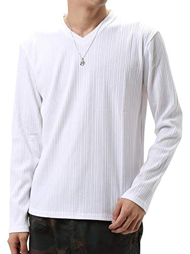 (アーケード) ARCADE ランダムテレコ ロングTシャツ メンズ 長袖 ロンT カットソー Vネック L ホワイト