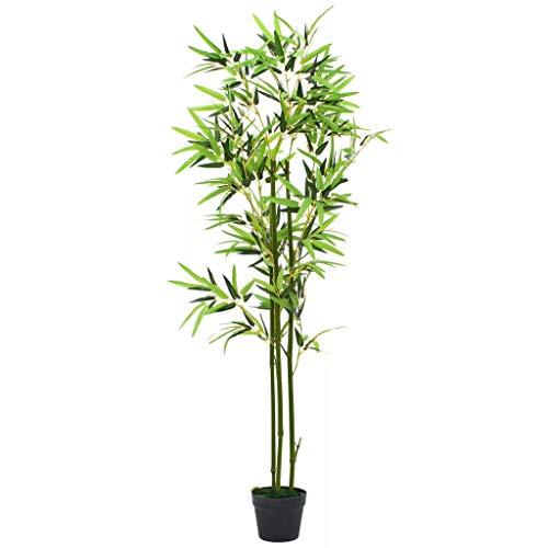 vidaXL Planta Bambú Artificial con Maceta 150cm Verde Decoración Hogar Flores