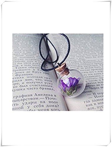 Paarse bloem ketting hanger met echte gedroogde paarse bloem in de bol glas kleine fles