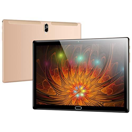 Qimaoo Tablet 10 Zoll Android 10.0, 4G LTE, Octa Core, 4 GB RAM 64 GB ROM, HD (1280 x 800), Dual SIM/Kameras, 6000mAh Akku, WiFi/Type C/GPS/Bluetooth 4.0 Tablets (Gold)