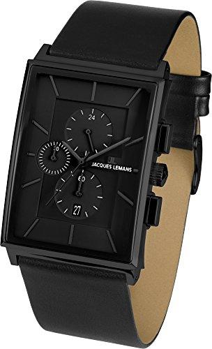 Jacques Lemans Herren Chronograph Quarz Uhr mit Leder Armband 1-1818D