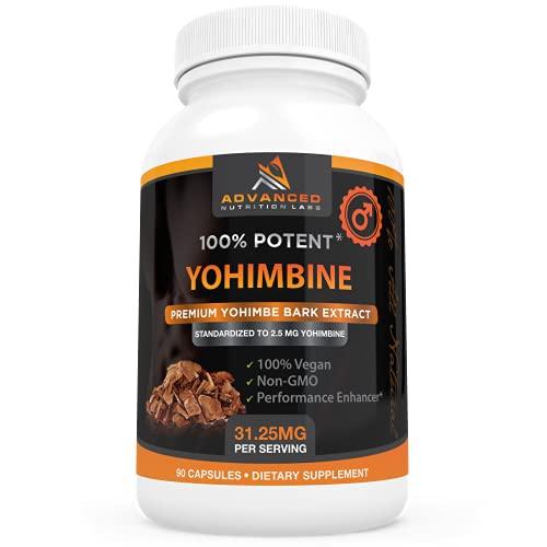 Yohimbine HCl, 90 Capsules, Yohimbe Bark Extract Supplement for Men and Women