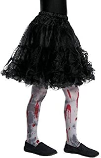 Girls Grey Bloody Zombie Dirt Grime Halloween Horror Fancy Dress Costume Outfit Accessory Tights 4-9 Years