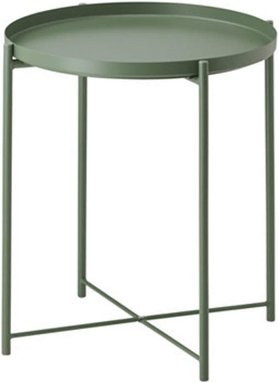 NAN Both Sides Top Available, Small Modern Metal End Table Side Table Coffee Table - Easy Assembly Multi-use Folding Tables (color   Green)