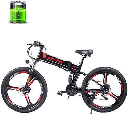 RDJM Bici electrica 26 Pulgadas de Bicicletas de montaña eléctrica, 48V350W Motor, la batería de Litio 12.8AH, Frenos de Disco Doble/Doble suspensión Suave de la Cola de la Bici, 21 de Velocidad Far