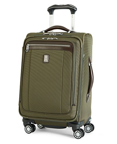 Travelpro Platinum Magna 2-Business Plus Softside Expandable Luggage, Olive, Carry-On 20-Inch