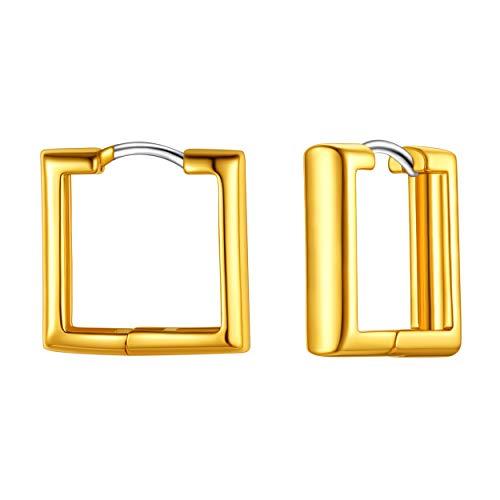 Square Hoop Earrings, Thick Rectangle Hoops, Unique Square Huggie, Dainty Hoops, Minimalist Hoops, Sterling Silver, Geometric Hoops, Gold