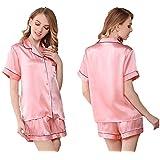 女性用シルクパジャマ、パジャマセットにはトップスとショートパンツが入っています、エレガントで快適なホームウェア、シルク100%(メインファブリック)、6色、真丝睡衣 (ピンク, L)