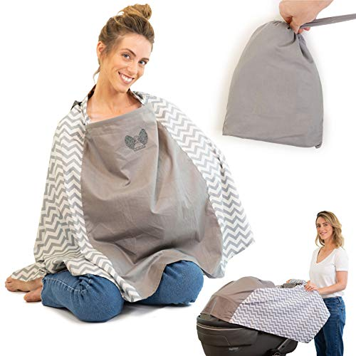 Full Protection 360° Baby Nursing Cover Poncho Style - Rigid Neckline Breastfeeding Cover with Carry Bag - Covers Fully - Soft Breathable Cotton to Fit All for Discreet Feeding in Public