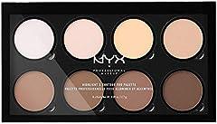 NYX Professional Makeup Paleta de contouring Highlight & Contour Pro Palette, Kit de contouring en polvo, 8 tonos de acabado mate y brillante