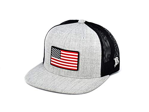 Branded Bills 'Old Glory Rogue' PVC Patch Hat Flat Trucker - One Size Fits All (Heather Grey/Black)